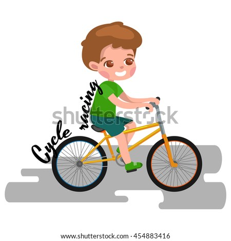 Boy cycling, racing kids sport, physical activity illustration - stock photo