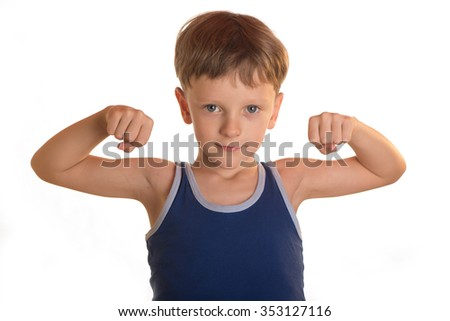 Boy does physical exercises, bends the arms to the shoulders, on a white background