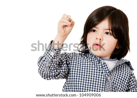 Boy drawing with a color pencil - isolated over a white background
