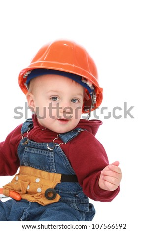 Boy dressed as a construction worker