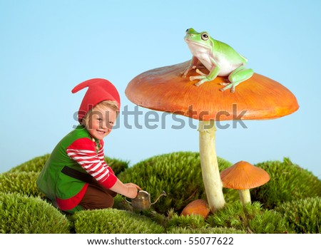 Boy dressed as a garden gnome and a frog on a toadstool as in a fairytale