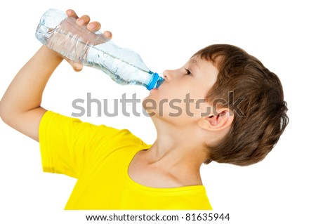 boy drinks water from a bottle - stock photo