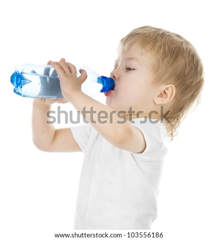 boy drinks water from a bottle. isolated on white background - stock photo