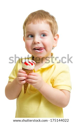 Boy eating ice cream or icecream isolated on white - stock photo