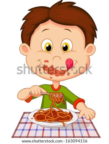 Boy eating spaghetti - stock photo