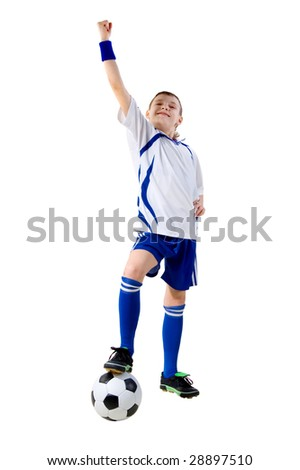 boy footballer winner with a ball on a white background