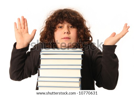 boy giving a shrug,  don't know in isolated - stock photo