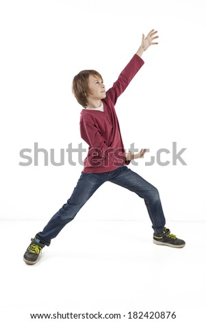 boy giving a thumbs up on white background