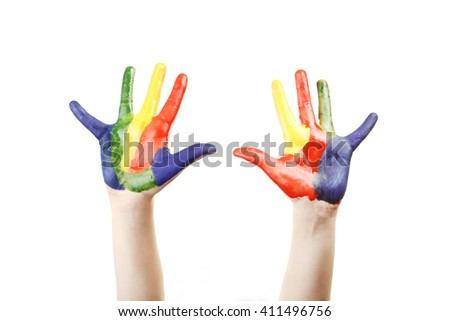 Boy hands painted isolated on white - stock photo