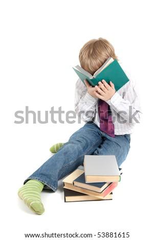 boy has got tired to study - stock photo
