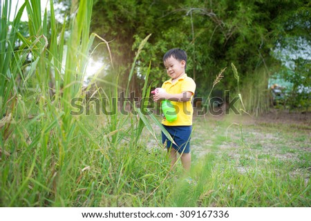 Boy have fun watered in the garden in holiday - stock photo
