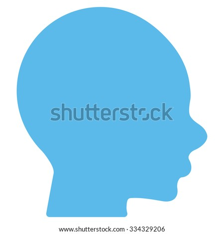 Boy Head glyph icon. Style is flat symbol, blue color, rounded angles, white background.