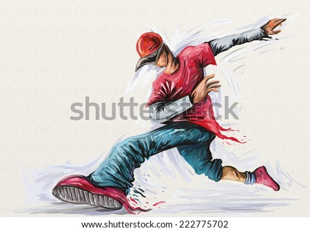 Boy Hip Hop Dance, Rap Music Digital Oil painting (Digital Art) - stock photo