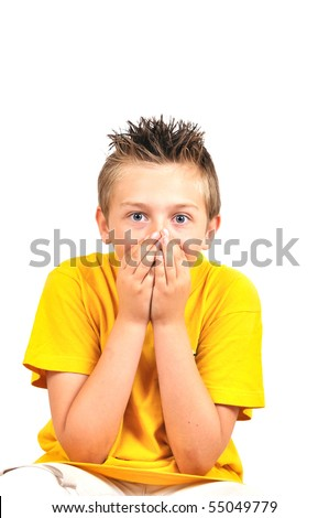 boy hold mouth and grimacing, isolated on white - stock photo