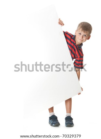 Boy holding a banner isolated on white background - stock photo