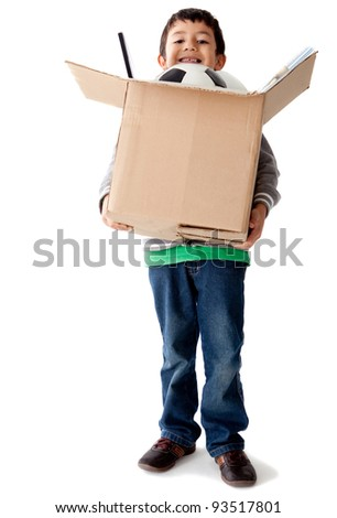 Boy holding a box with toys â?? isolated over a white background - stock photo