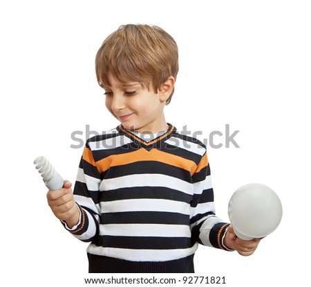 boy holding a lamp, isolated on white background - stock photo