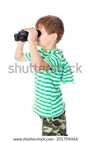 Boy holding binoculars isolated on a white - stock photo