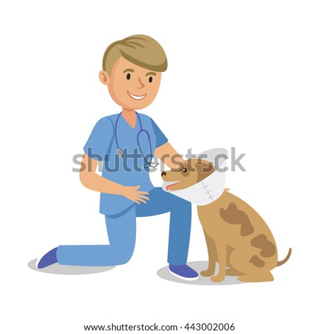 Boy holding dog. Pet doctor. Cartoon veterinarian healing dog