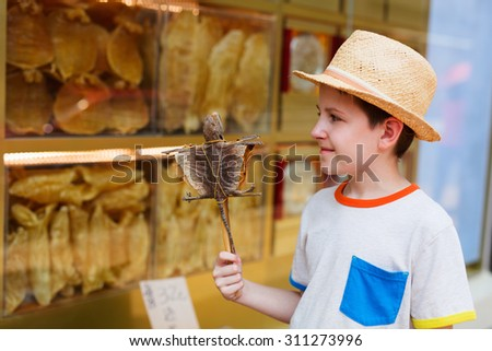 Boy holding dried gecko on stick at street of Hong Kong - stock photo