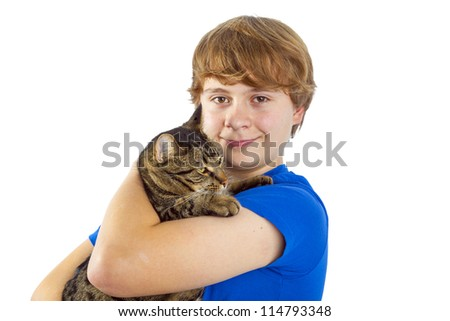 boy hugging with his cat