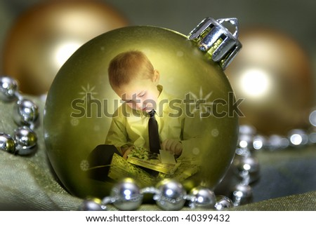boy in a bauble - stock photo