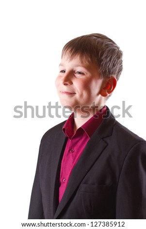 boy in a black jacket on a white background - stock photo