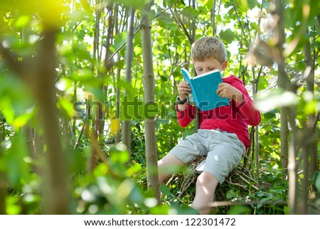 Boy in a tree reading his book. - stock photo