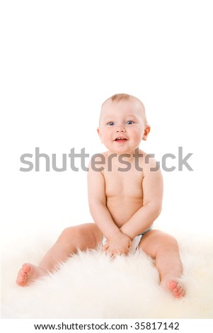 Boy in age of one year isolated on white