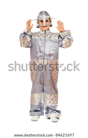Boy in astronaut costume. Isolated on white - stock photo
