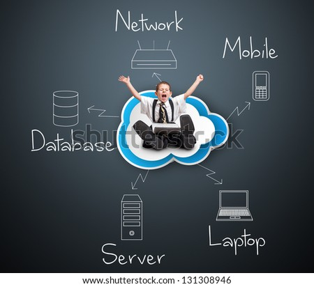 Boy in business suit with cloud computing diagram - stock photo