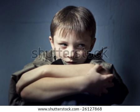 Boy in depression - stock photo