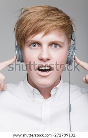 Boy in headphones - stock photo