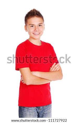 Boy in red tshirt making an imaginary binocular with hands - stock photo