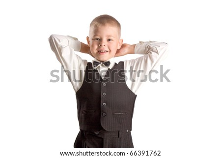 Boy in suit isolated on white - stock photo