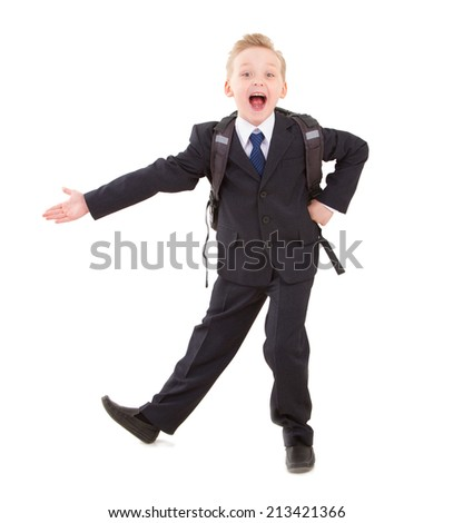 Boy in suit with backpack ready back to school - stock photo