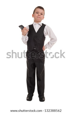 boy in suit with phone  isolated - stock photo