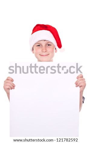 boy in the Christmas hat with blank forms on a white background