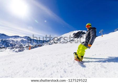 boy in the Soldeu sector in the Grandvalira ski station in the P - stock photo