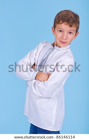 Boy in the Ukrainian national costume - stock photo