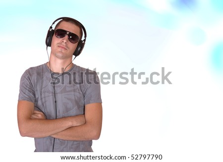 Boy is listening to music track