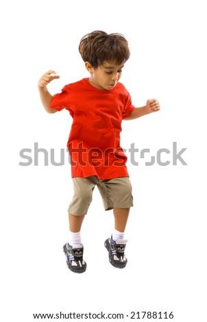Boy jumping on white background . - stock photo