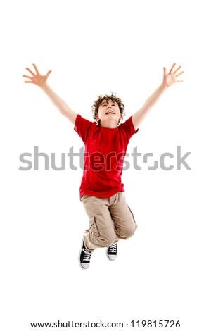 Boy jumping, running isolated on white background - stock photo