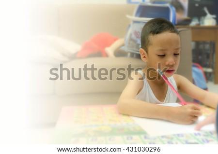 boy learning - stock photo