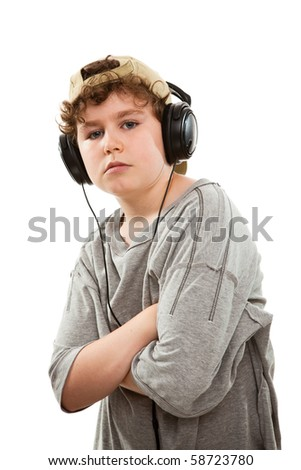Boy listen to music isolated on white background - stock photo