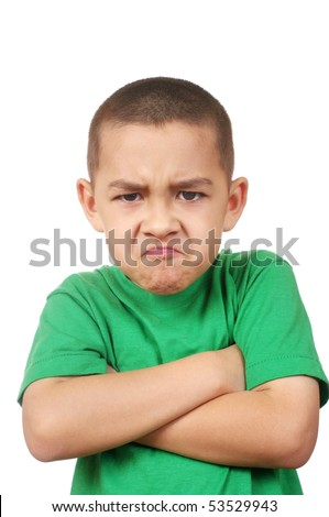 Boy looking at you angry, isolated on white - stock photo