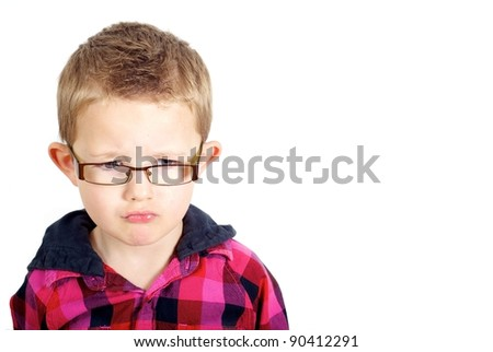 Boy looking sad - stock photo
