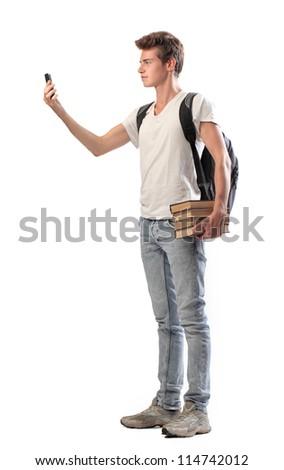 Boy making a video call - stock photo