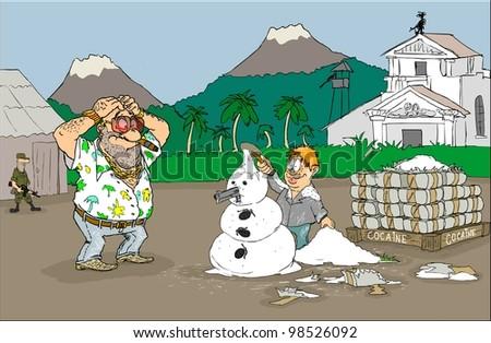 Boy of cocaine built a snowman - stock photo