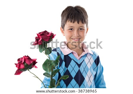 Boy offering flowers isolated on a white background